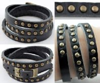 Black Leather Studded Bracelet .